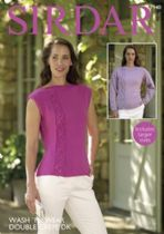 Sirdar Wash 'n Wear Double Crepe - 7940 Long Sleeved & Sleeveless Tops Knitting Pattern